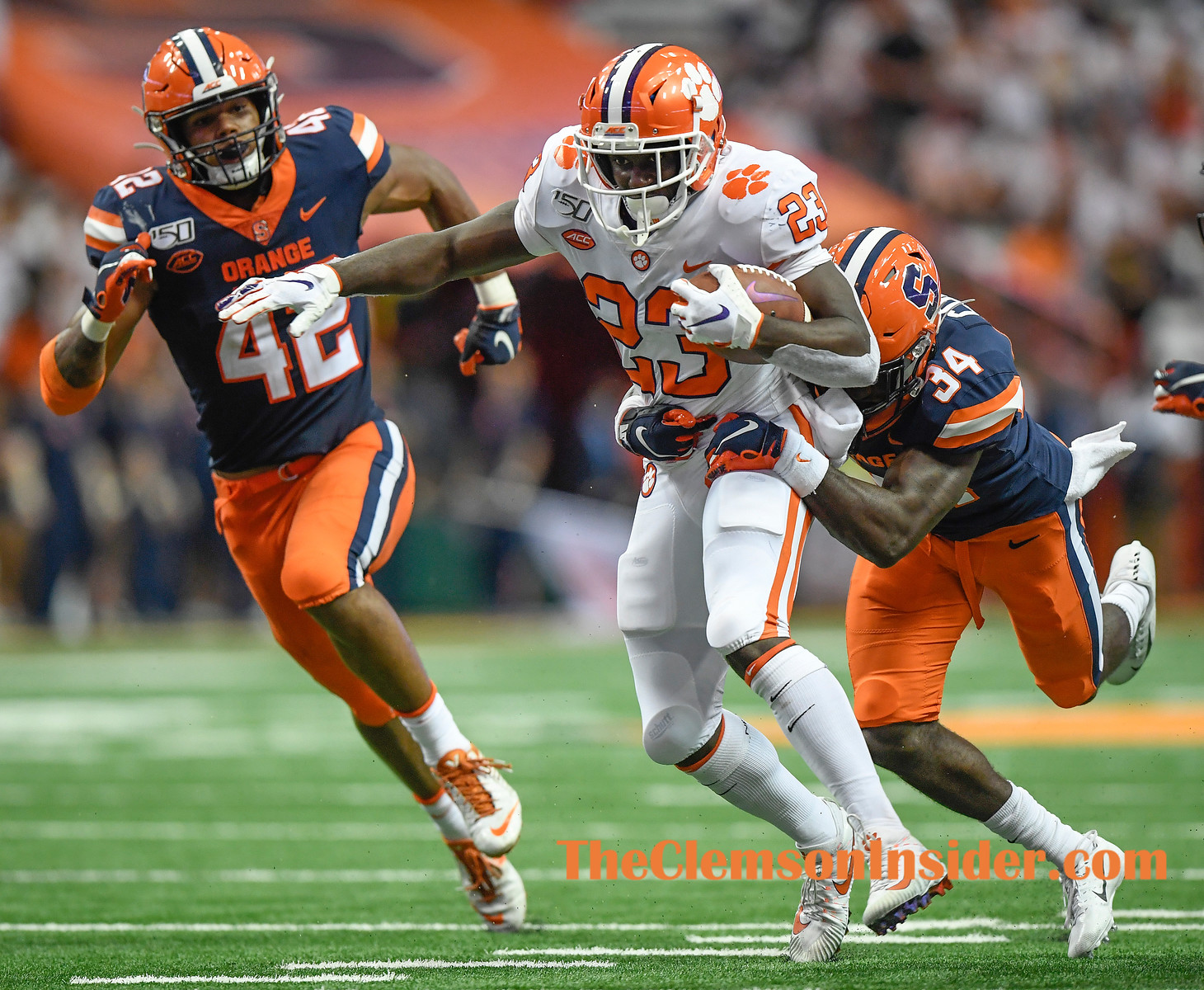 Clemson running back Lyn-J Dixon (23) carries against Syracuse during the 3rd quarter at the Dome in Syracuse, N.Y. Saturday, September 14, 2019. Bart Boatwright/The Clemson Insider