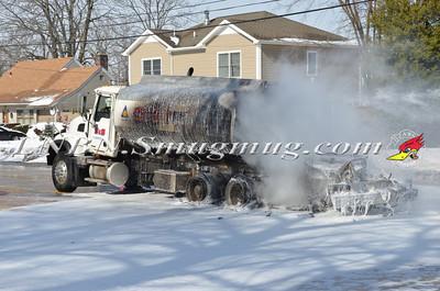 Massapequa F.D. Oil Truck Fire Merrick Rd.  2-16-14
