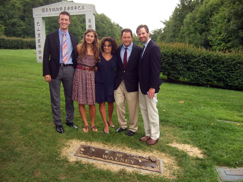 Tommy Hefferan, left; Alexandra Solomon, 2nd on left; Joan (Somerstein) Walsey, 3rd on left; Rusty Solomon, 4th on left; and Jeremy Solomon, right - Elliot Walsey gravestone unveiling and luncheon