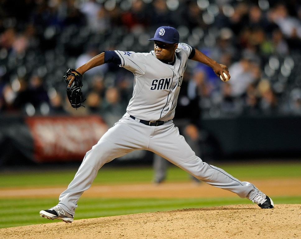 . San Diego Padres relief pitcher Frank Garces throws in the seventh inning of a baseball game against the Colorado Rockies on Friday, Sept. 5, 2014, in Denver. (AP Photo/Chris Schneider)