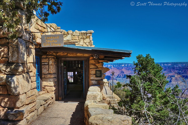 The entrance to the Lookout Studio Gift Shop along the South Rim within Grand Canyon National Park in Arizona.