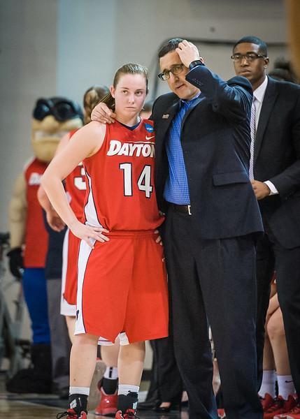 Dayton head coach Jim Jabir, Samantha Mackay #14