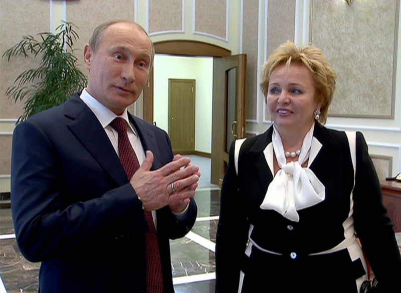 ". In this grab made from video provided by the Russia24 TV Channel on Thursday, June 6, 2013, Russian President Vladimir Putin, left, and his wife Lyudmila speak to journalists after attending the ballet ""La Esmeralda\"" in the Kremlin Palace in Moscow, Russia. Russian President Vladimir Putin and his wife Lyudmila said Thursday they are divorcing after nearly 30 years of marriage, making the announcement on state television after attending a ballet performance at the Kremlin. (AP Photo/Russia24 via The Associated Press Television News)"