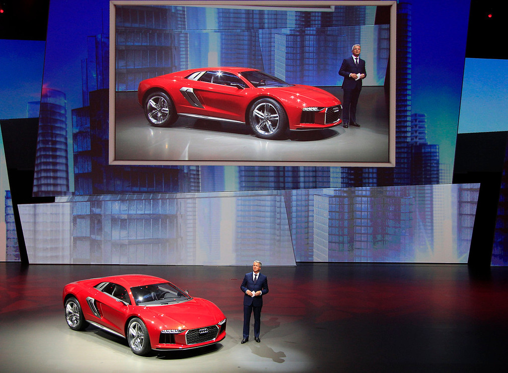 . Audi CEO Rupert Stadler presents the new Audi Nanuk Quatro during a preview by the Volkswagen Group prior to the 65th Frankfurt Auto Show in Frankfurt, Germany, Monday, Sept. 9, 2013. More than 1,000 exhibitors will show their products to the public from Sept. 12 through Sept. 22, 2013. (AP Photo/Frank Augstein)