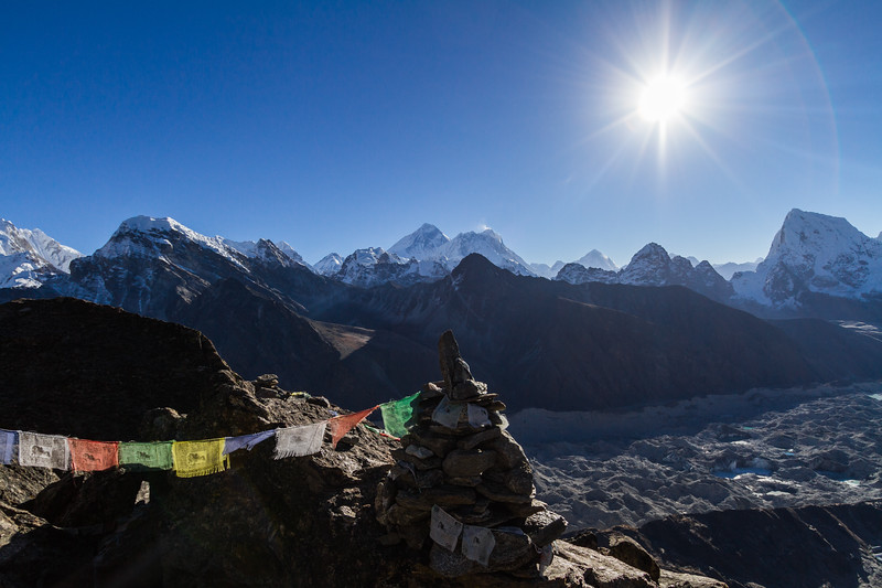 View of snowcapped mountain and prayer flag - Nepal