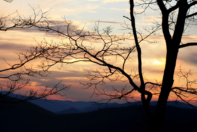 Sunset image from Webb Overlook, Hwy 441 about a mile or so south of Newfound Gap parking area...GSMNP.