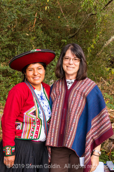 Hacienda.  Noemi  and Marge with the finished poncho.