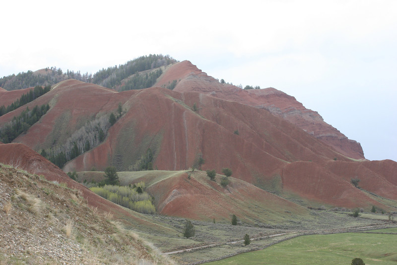 red hills in Gros Ventre Valley - caused by iron oxide