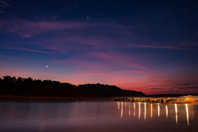 8.17.20 - Prairie Creek Marina with Luna chasing Venus rising.