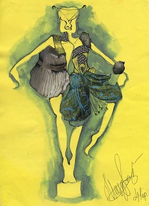 """""""Twins"""" (watercolor, black gel pen, magazine pieces on yellow paper) by Donna Christione"""