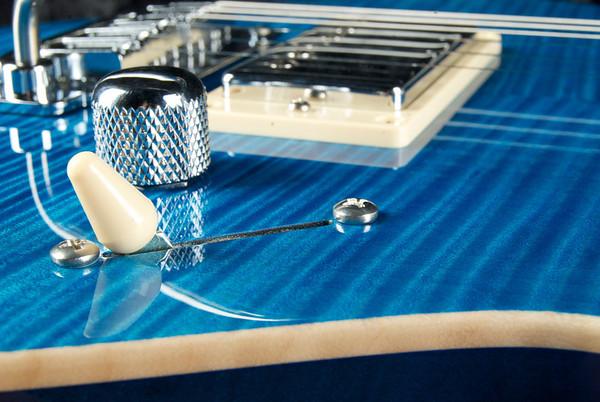 Bent Top Custom #3186 Aqua Blue, Flame Maple Top.