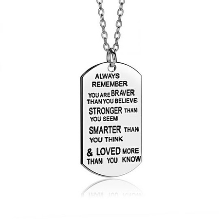 Always Remember You Are Braver Inspirational Necklace