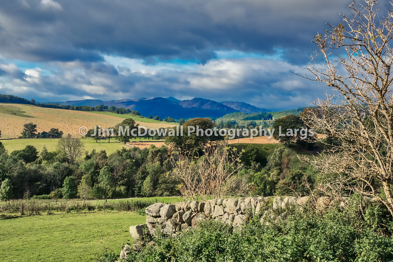 Scotland Over Dry Stone Walls Fields and Mountains