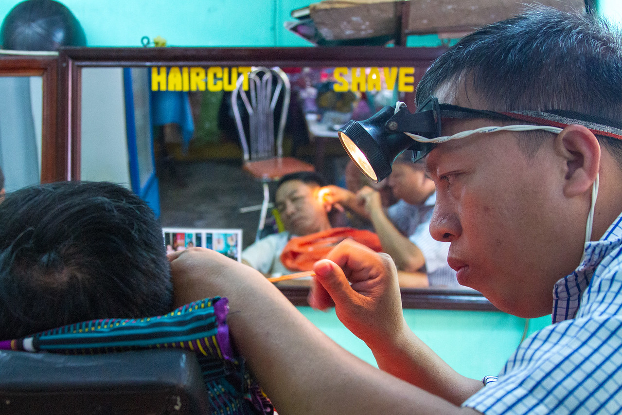A haircut in Vietnam ear picking shave and massage