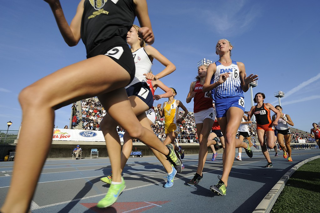 . NORWALK, CALIF. USA -- The 1600 meter race during the CIF-SS Masters Track and Field Meet in Norwalk, Calif., on Friday, May 24, 2013. Photo by Jeff Gritchen / Los Angeles Newspaper Group