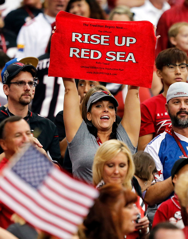 . Fans cheer during the first half of an NFL football game between the Arizona Cardinals and the Houston Texans, Sunday, Nov. 10, 2013, in Glendale, Ariz. (AP Photo/Matt York)