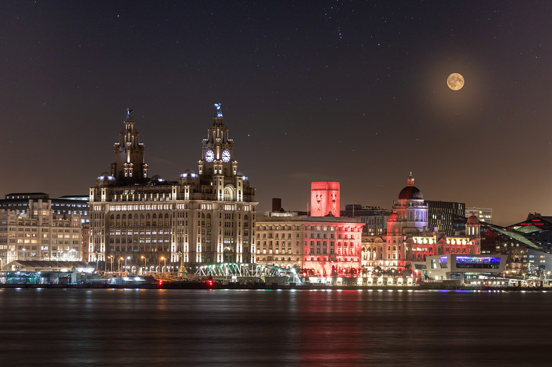Moon  over the Iconic Liverpool Waterfront at Night