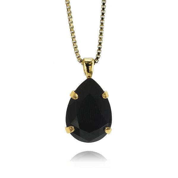 Mini Drop Necklace / Jet Gold