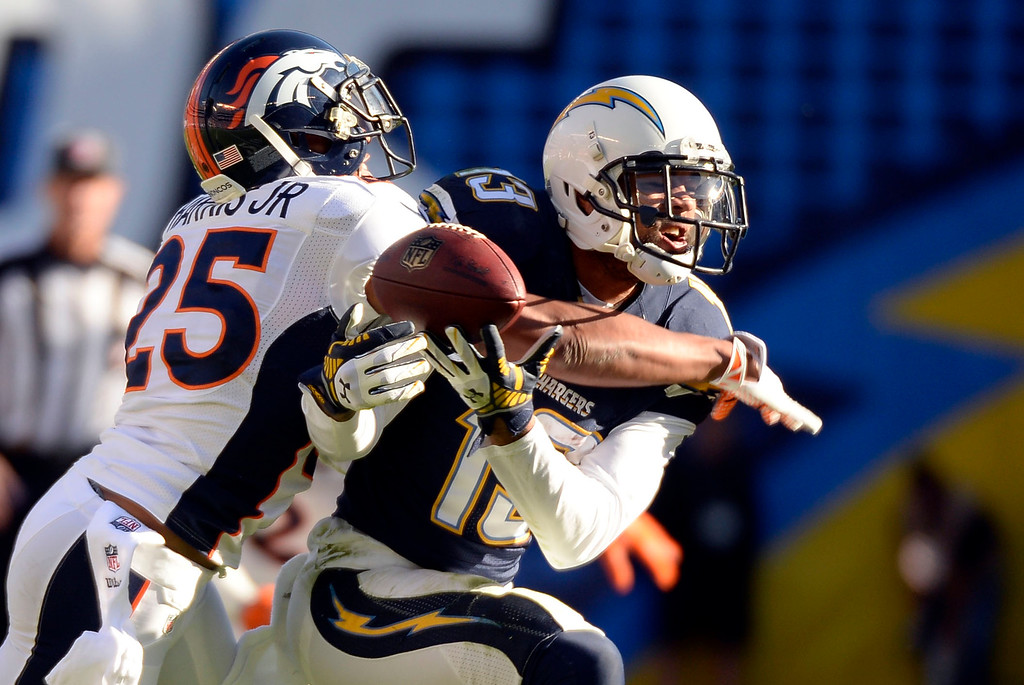 . SAN DIEGO, CA - DECEMBER 14: Denver Broncos cornerback Chris Harris (25) knocks the ball away from San Diego Chargers wide receiver Keenan Allen (13) for an incomplete pass during the second quarter December 14, 2014 at Qualcomm Stadium (Photo By John Leyba/The Denver Post)