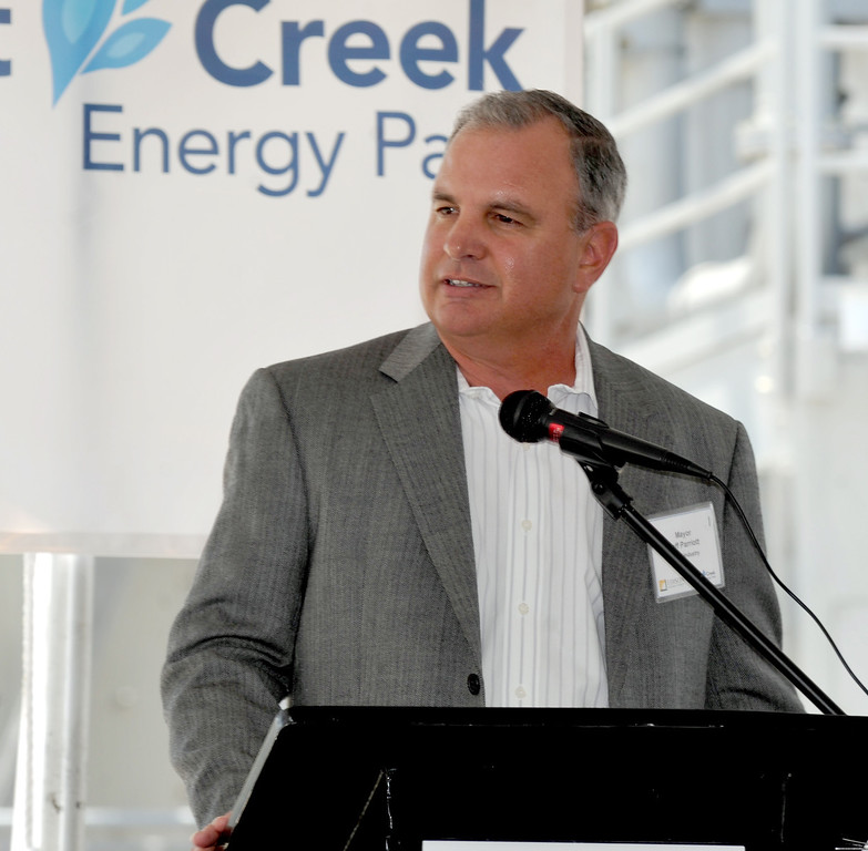 . City of Industry Mayor Jeff Parriott speaks as Edison Mission Energy dedicates their new Walnut Creek Energy Park in the City of Industry on Friday May 9, 2013. The 479 mega-watt project can produce enough energy to power 165,000 home air conditioning systems in the Los Angeles area. (SGVN/Staff Photo by Keith Durflinger)