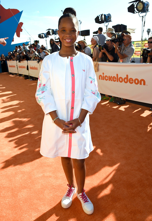 . Quvenzhane Wallis arrives at Nickelodeon\'s 28th annual Kids\' Choice Awards at The Forum on Saturday, March 28, 2015, in Inglewood, Calif. (Photo by Chris Pizzello/Invision/AP)