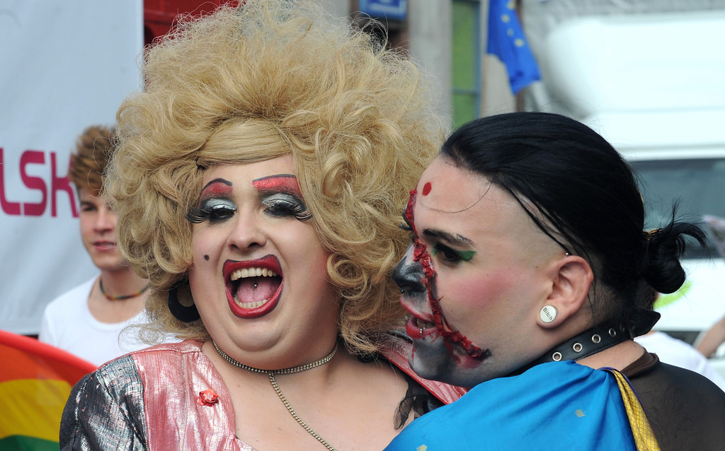 . Drag queens attend the annual Gay, Bisexual and Transgender equality march in Warsaw, Poland, Saturday, June 15, 2013. The parade participants demanded  equal rights for gays  in this conservative, mostly Catholic country  where they still face significant prejudice. (AP Photo/Alik Keplicz)