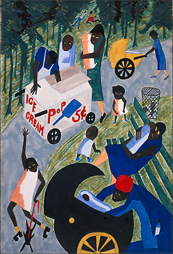 "Jacob Lawrence, ""When it is Warm the Parks Are Filled with People"" (1943)"