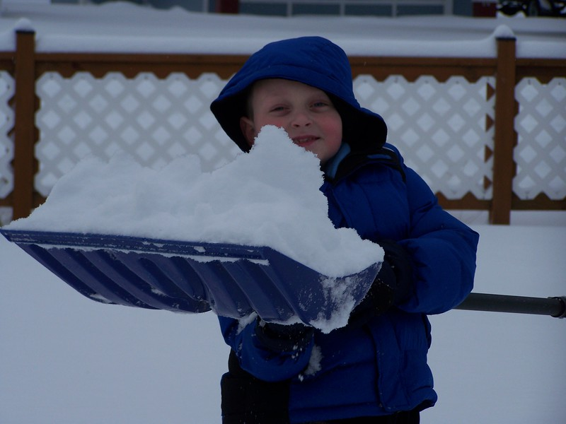 Shovelling snow to make a snowman since the snow wouldn't pack to roll