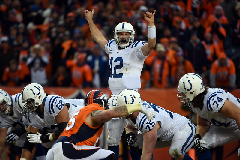 . Andrew Luck (12) of the Indianapolis Colts signals prior to a snap during the second quarter.  The Denver Broncos played the Indianapolis Colts in an AFC divisional playoff game at Sports Authority Field at Mile High in Denver on January 11, 2015. (Photo by Tim Rasmussen/The Denver Post)