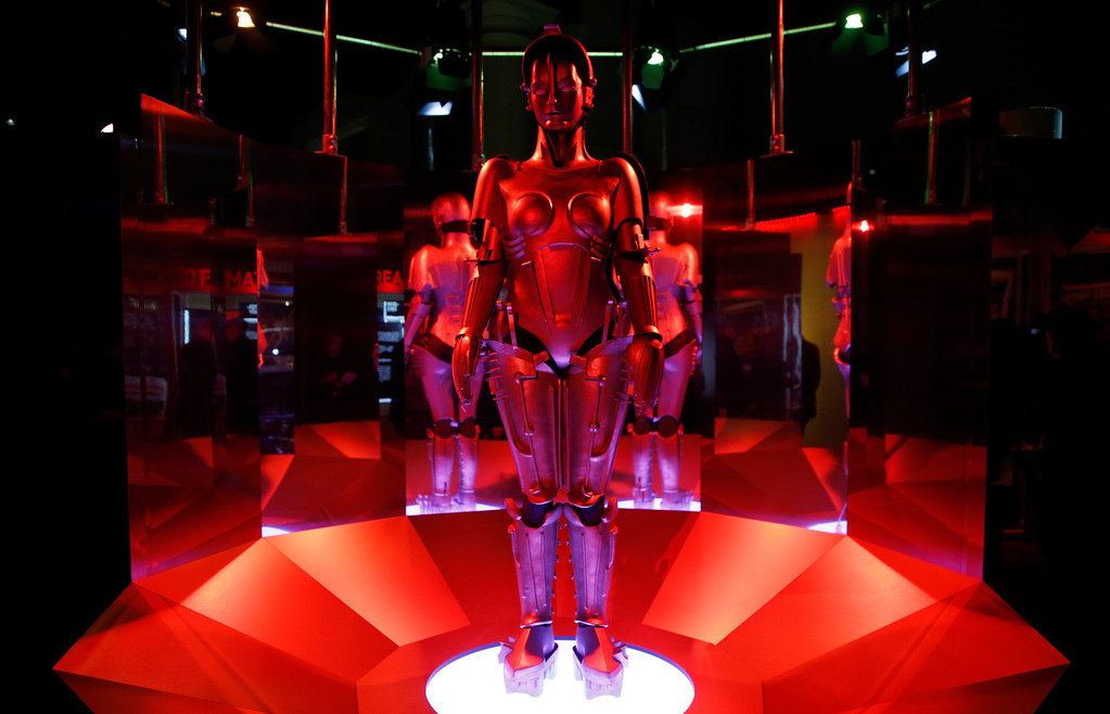 . A replica of \'Maria\' robot designed and featured in Fritz Lang\'s Metropolis on display, during a press preview for the Robots exhibition held at the Science Museum in London, Tuesday, Feb. 7, 2017. The exhibition which shows 500 years of mechanical and robotic advances is open to the public form Feb. 8 through to Sept. 3. (AP Photo/Alastair Grant)