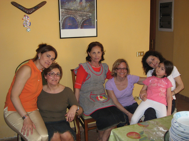 Antonietta with her daughters (my 2nd cousins once removed) from left to right Maria and Jenni). To the left of Erin is is the wife and daughter of my other cousin Giovanni.