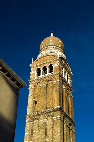 Bell tower of Madonna dell'Orto church (14th century), in Gothic style. Cannaregio quarter, Venice, Italy.