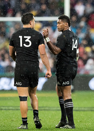 Anton Lienert-Brown  Waisake Naholo during game 9 of the British and Irish Lions 2017 Tour of New Zealand, the second Test match between  The All Blacks and British and Irish Lions, Westpac Stadium, Wellington, Saturday 1st July 2017 (Photo by Kevin Booth Steve Haag Sports)  Images for social media must have consent from Steve Haag