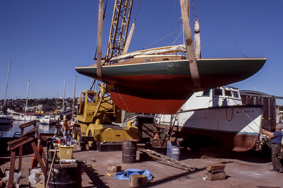 Wooden Boat Repair and Aurora Bridge Views 1977