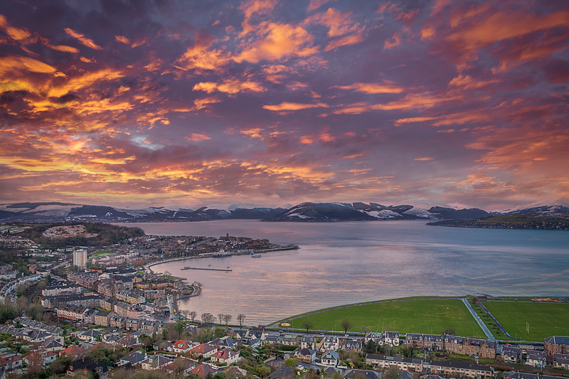 Gourock Town & Bay Over To a Snowy Gareloch and Beyondas the sun was going down with a blazing red sky.