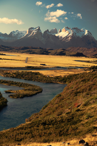 The setting sun over Rio Serrano and Torres del Paine National Park, Chile. (HDR)