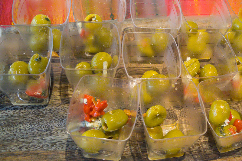 Olive Recipes: Manzanilla Olives with Red Pepper, Almonds, Honey, and Blue Cheese