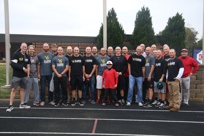 The GWU Baseball team was recognized today for shaving their heads earlier in the morning to support cancer. Along with them is Asher Smith, honorary GWU Baseball team member battling childhood cancer.