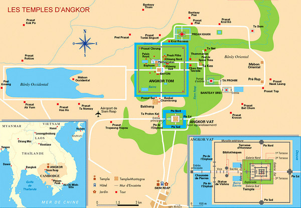 For larger version of this map, see http://www.angkor360.com/wp-content/uploads/2007/12/siem-reap-map.jpg.  The moats around Angkor Wat and Angkor Thom can be seen in blue.  We entered Angkor Thom through the Victory Gate and left through the South Gate.