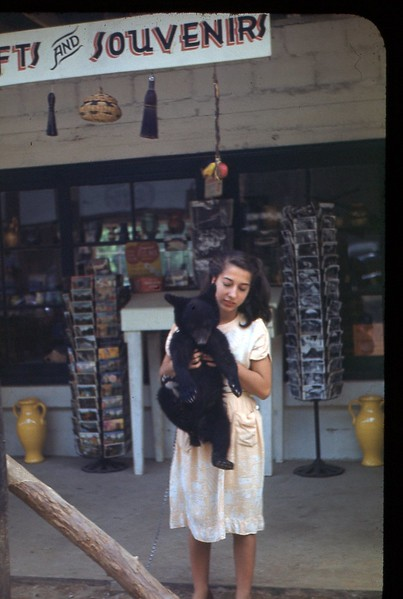 1948 Smokies girl holding Bear Cub
