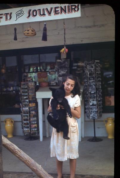 1948 Smokies girl holding Bear Cub