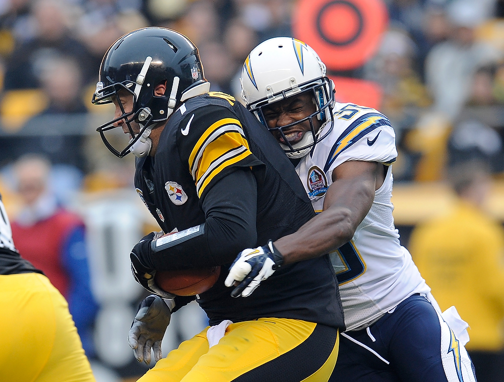 Description of . Ben Roethlisberger #7 of the Pittsburgh Steelers gets sacked by Marcus Gilchrist #38 of the San Diego Chargers during the second quarter on December 9, 2012 at Heinz Field in Pittsburgh, Pennsylvania.  (Photo by Joe Sargent/Getty Images)
