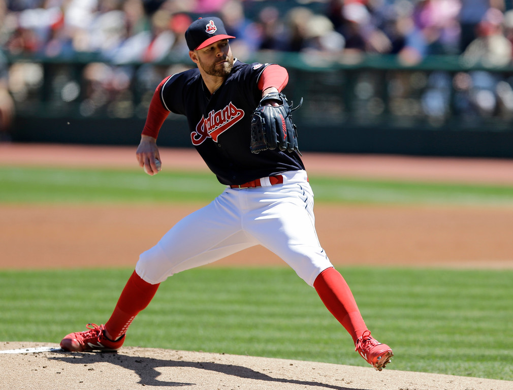. Cleveland Indians starting pitcher Corey Kluber delivers in the first inning of a baseball game against the Oakland Athletics, Thursday, June 1, 2017, in Cleveland. (AP Photo/Tony Dejak)
