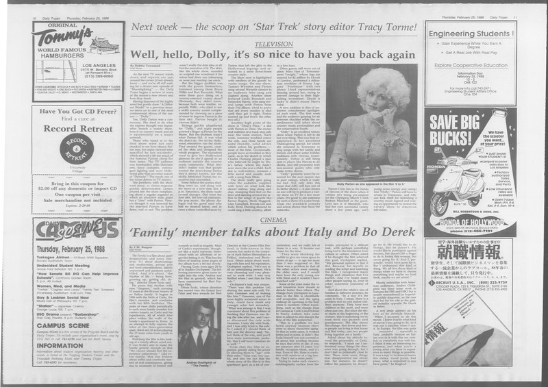 Daily Trojan, Vol. 106, No. 31, February 25, 1988