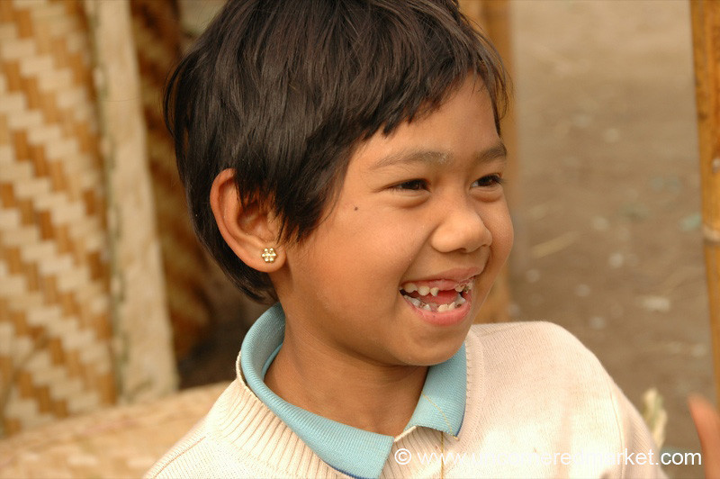 Giggling Child at Market - Inle Lake, Burma