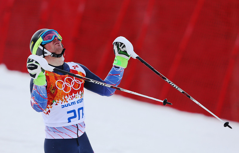 . David Chodounsky of the United States the first run during the Men\'s Slalom during day 15 of the Sochi 2014 Winter Olympics at Rosa Khutor Alpine Center on February 22, 2014 in Sochi, Russia.  (Photo by Alexander Hassenstein/Getty Images)