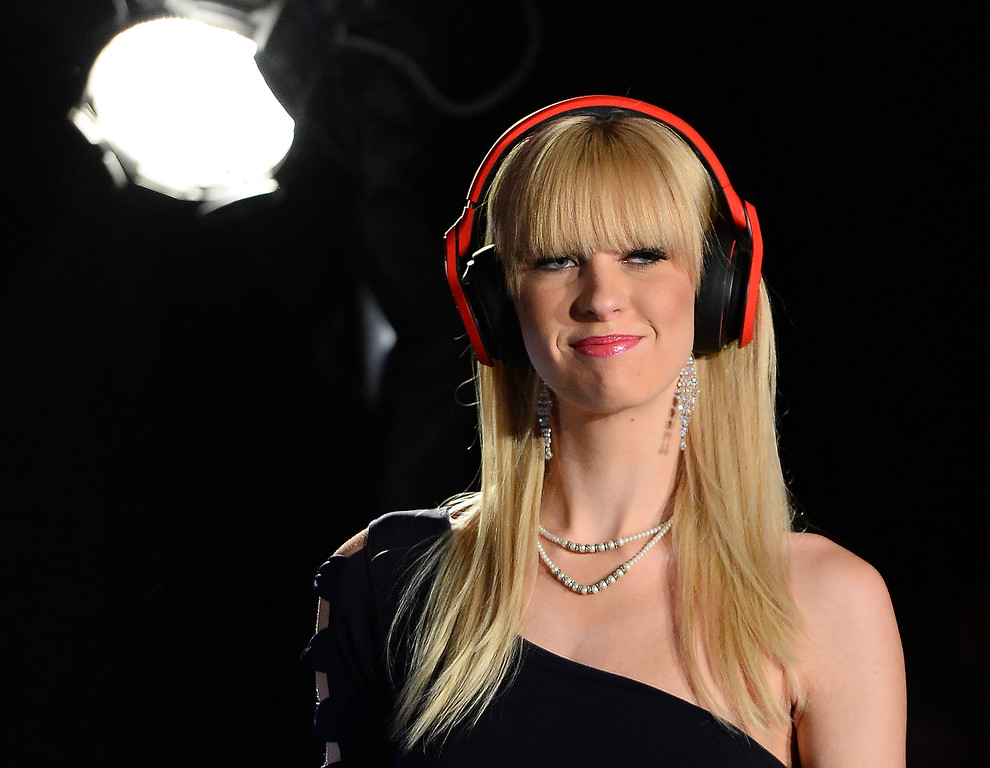 . A model wears Monster Octagon headphones after it was announced they were the official headphones of the UFC at a Monster Inc. press event at the Mandalay Bay Convention Center for the 2014 International CES on January 6, 2014 in Las Vegas, Nevada. (Ethan Miller/Getty Images)