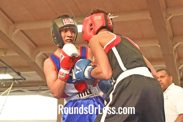 Bout 10 Carlos Figueroa, Red Gloves, Akron B A -vs- Dillon Burrell, Blue Gloves, 132 lb Junior Div. Championship