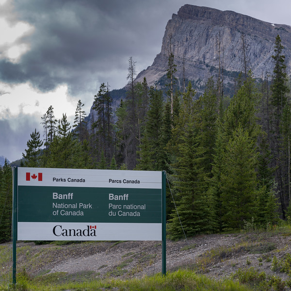 Information sign of Banff National Park, David Thompson Highway, Clearwater County, Alberta, Canada