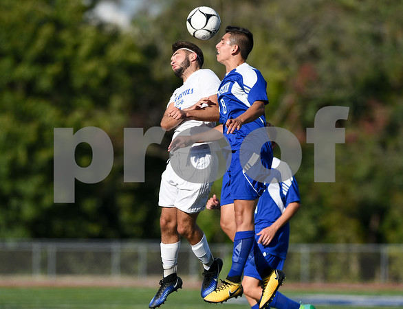 09/08/17 Wesley Bunnell   Staff Plainville Boys Soccer defeated visiting Bristol Eastern on Friday afternoon. Plainvilles Jordan Bishop (7) and Bristol Easterns Dante Constantiello #8.
